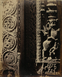 Close view of sculptural detail on inside of rear gopura of Venkataramana Temple, Tadpatri